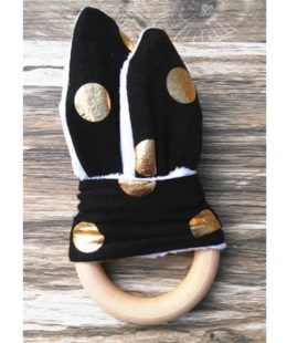 wooden ring teether - black