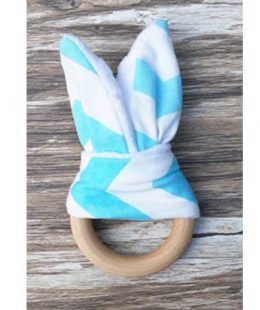 wooden ring teether - blue