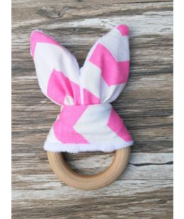 wooden ring teether - pink 3