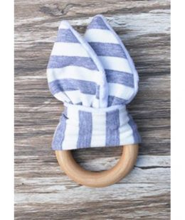 wooden ring teether - grey