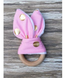 wooden ring teether - pink