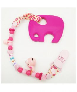 silicone teether - pink elephant