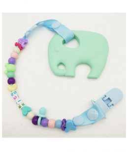 silicone teether - mint elephant