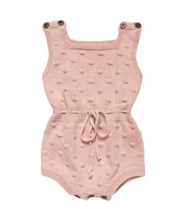 knitted baby romper pink - mum and baby boutique