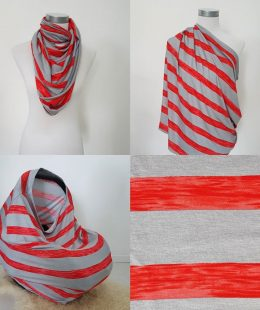 Stripey Red Breastfeeding Cover